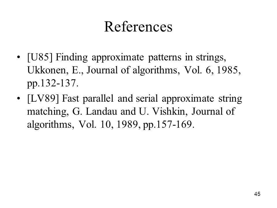 References [U85] Finding approximate patterns in strings, Ukkonen, E., Journal of algorithms, Vol. 6, 1985, pp.132-137.